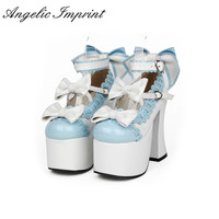 12.5CM Super High Heel Blue and White Leather Pumps Sweet Lace Trim Bowknot Strap Lolita Girls Shoes