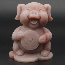 3.4 Pig Statue Natural Gemstone Pink Opal Crystal Carved Lucky Animal Decor