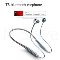 T8 silicone neck mounted wireless sports Bluetooth headset IP68 waterproof Supper bass earphones with mic S15 for iphone