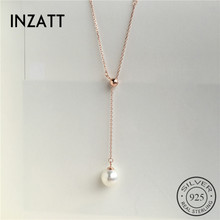 Pearl Pendant Necklace Sweater Jewelry Rose-Gold 925-Sterling-Silver Chaintassel Fashion