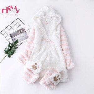 Японская зимняя женская пижама-комбинезон, розовая пижама с длинным рукавом и милыми кошачьими ушками, женская повседневная одежда для дом...
