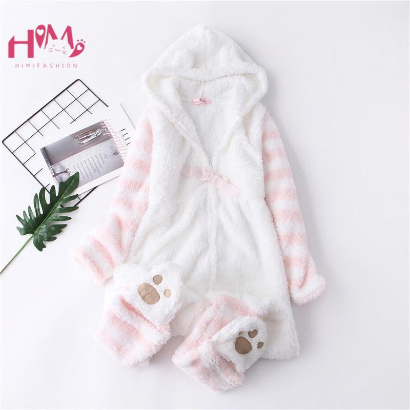 Japanese Winter Women Onesie Pajamas Kawaii Cat Lovely Ear Long Sleeve Pink One-Piece Sleepwear Female Casual Cute Homewear Girl