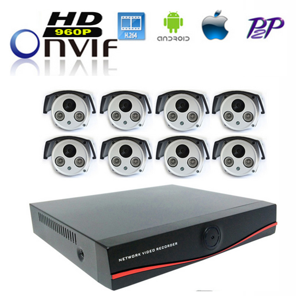 8CH HD 960P CCTV System 8 Channel NVR Video Output 8PCS 1.3 MP 960P Network Wired CCTV IP Camera Home Security Surveillance Kits