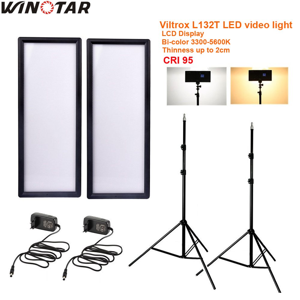 Viltrox L132T Bi-Color Dimmable LED Video Light x2 +2x Light Stand +2x AC Adapter for DSLR Camera Studio LED Lighting Kit viltrox l132t photo studio set 2x bi color dimmable dslr led video light 2x flexible octopus tripod 2x battery for photography