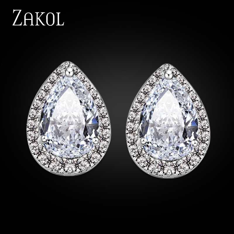ZAKOL Fashion Big Pear Cubic Zircon Stud Earrings with Tiny Crystal Exquisite Sliver Color Bridal Wedding