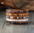 Leather Bracelets for women High End Mix Natural Stones 5 times Leather Wrap Bracelets Vintage Weaving Beadwork Bracelet