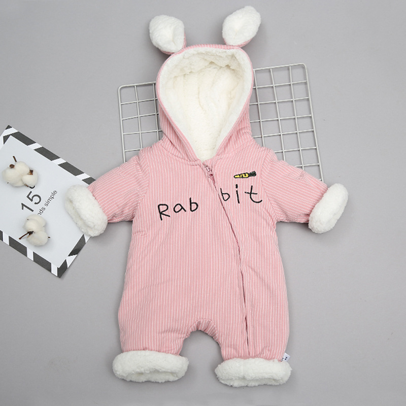 Lovely Baby Clothes Boy Rompers 2018 Winter Velvet Thicken Rabbit Ear Girl Romper Clothing Long Sleeve Warm Kids Jumpsuit 4rr159 children s winter rompers overall for kids pink blue warm coral velvet long sleeve jumpsuit bear baby clothes for kids
