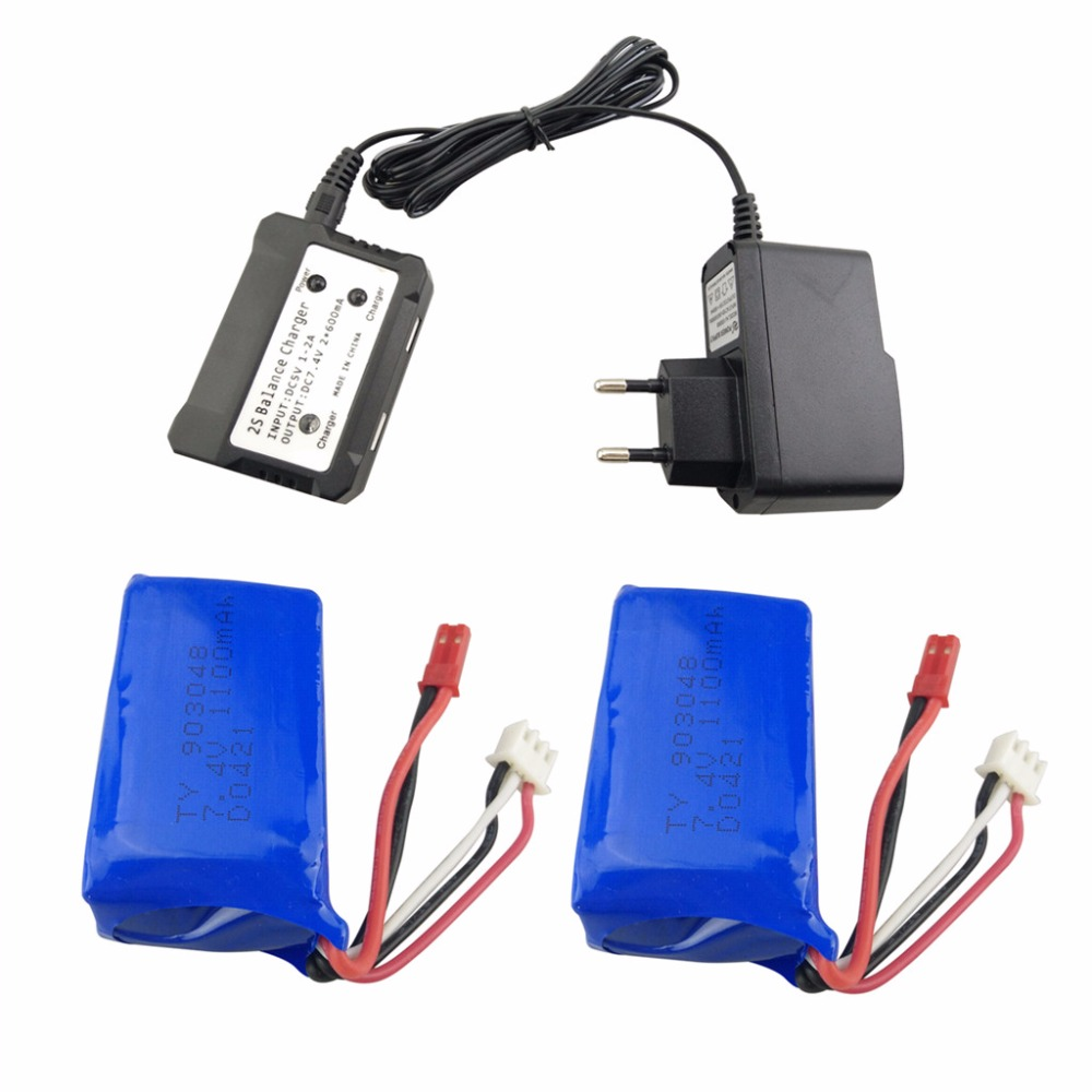 2PCS 7.4V 1100mah Lithium Battery with 2 in 1 Euro Regulator for WLtoys A949 A959 A969 A979 S989 V912 T23 T55 F45 RC