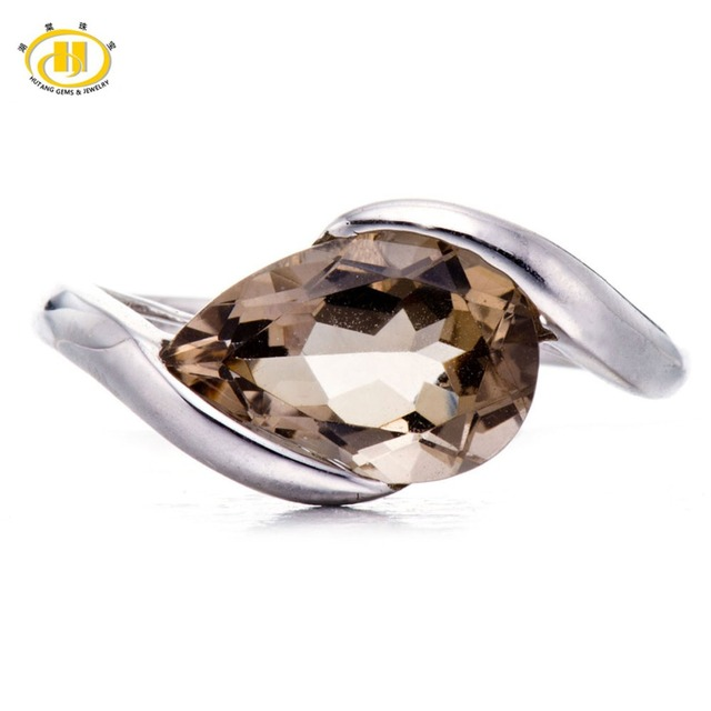 Hutang 2.75Ct Smoky Quartz Solid 925 Sterling Silver Solitaire Ring For Women Gemstone Fine Jewelry