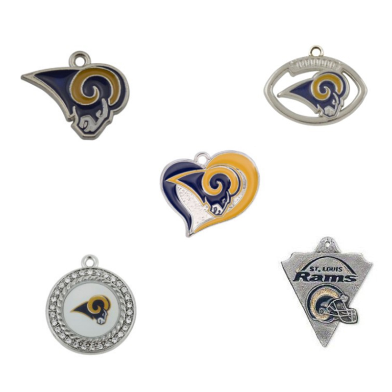 5 Styles Enamel Football Team Los Angeles Rams Pendant Charms Fit For Fashion DIY Charm Jewelry Accessories