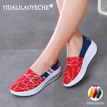 YIDALILAOYECHE 2019 Autumn Women Flat boat shoes casual slip-on shallow elegant Ladies Gingham Thick Soled Canvas Platform Shoes