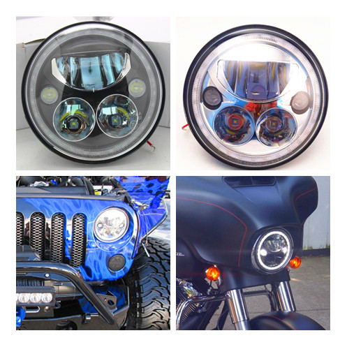 Pair 7 Inch Round Black Led Headlight with DRL Hi/lo Beam With Angle Eye Halo for Wrangler Jk Tj Harley h4 Pluge