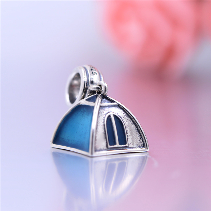 Sterling Silver Bead Charm Blue C&ing Tent Beads Fit For European Bracelet 2016 New Style Jewelry DIY Wholesale Beads-in Beads from Jewelry u0026 Accessories ... & Sterling Silver Bead Charm Blue Camping Tent Beads Fit For ...