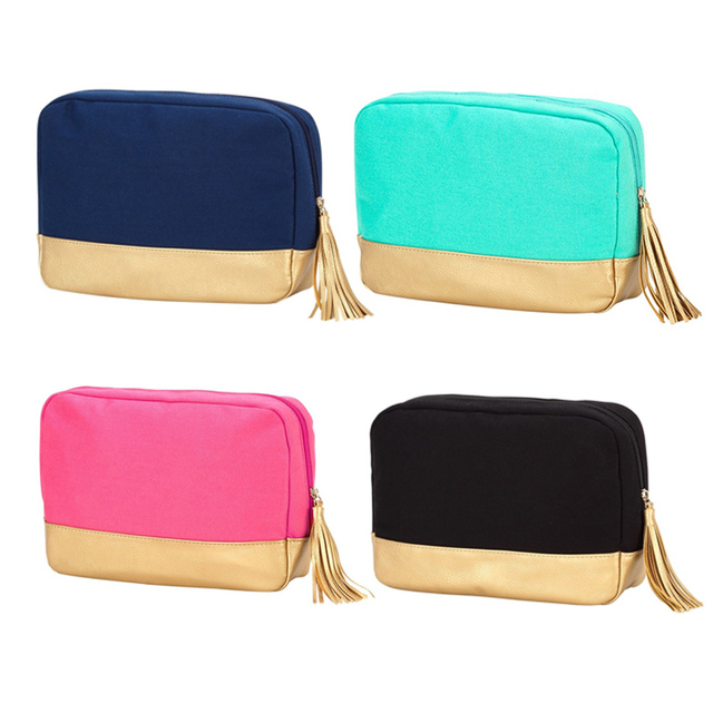 24 5 6 3 17 8cm Patchwork Tassel Makeup Bag Whole Blanks Glitter Cosmetic 4colors