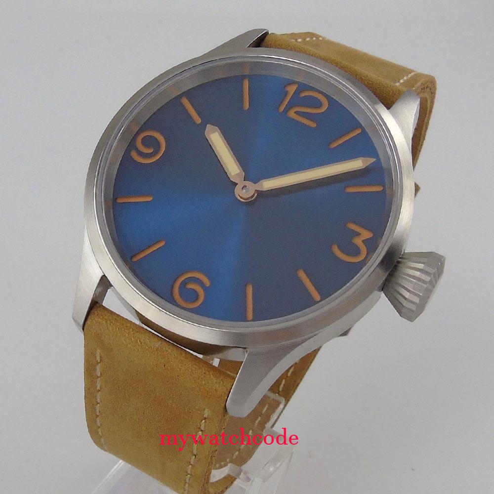 купить parnis 43mm blue dial luminous sapphire crystal sea-gull hand winding 6497 mens watch Top Brand Luxury wrist watch по цене 6164.14 рублей