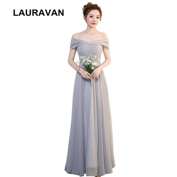 modern women ladies the bride long special occasion sleeveless gray boat neck chiffon prom party dresses off the shoulder dress