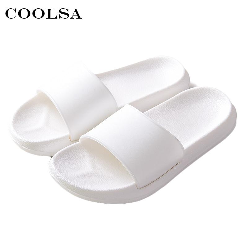 2018 Hot New Summer Women Flip Flops Black White Solid Slides EVA Flat Non-Slip Indoor Slippers Unisex Sandals Couple Beach Shoe