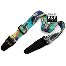 NEW Folk wood, Classic Seller Acoustic Electric Leather Bass Guitar Strap Guitarra – 7Colors  Print S008 07-13