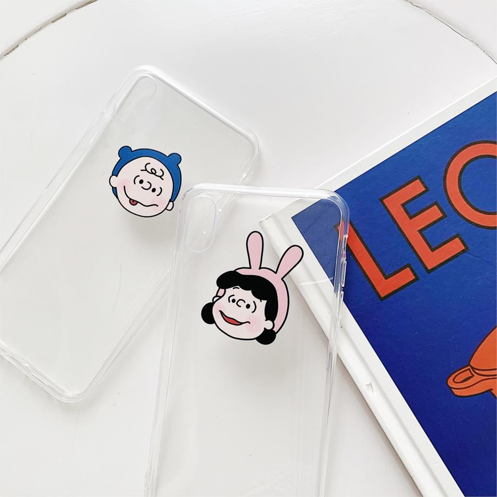 Japan cute cartoon Charlie Brown Lucy couple phone case for iphone Xs MAX XR X 6 6s 7 8 plus simple clear soft TPU back cover in Fitted Cases from Cellphones Telecommunications