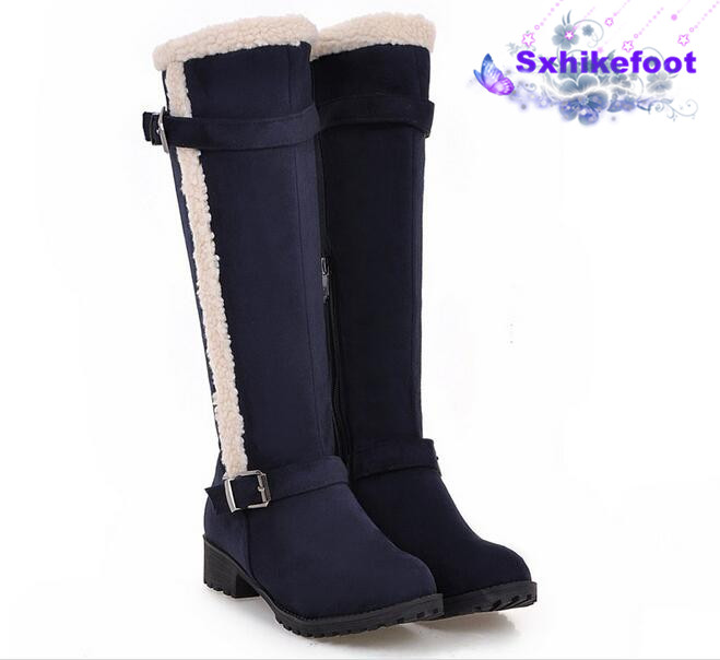 ФОТО Free Shipping  Large size woman shoes 2017 new   Europe retro winter fluff pure leisure all-match snow boots 40-43