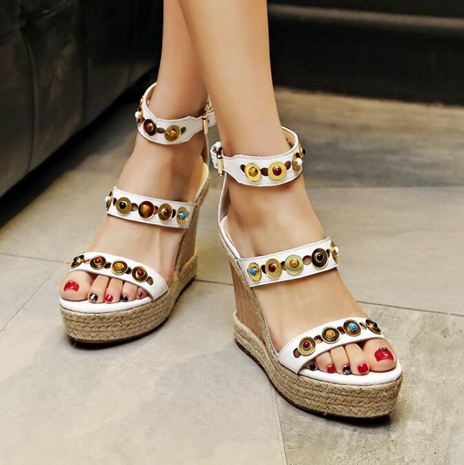 Women 2016 Summer New Corium Rivets Fashion Sandals Trifle Wedges High Heel Europe And America Style High Heels Shoes 2016 spring and summer free shipping red new fashion design shoes african women print rt 3