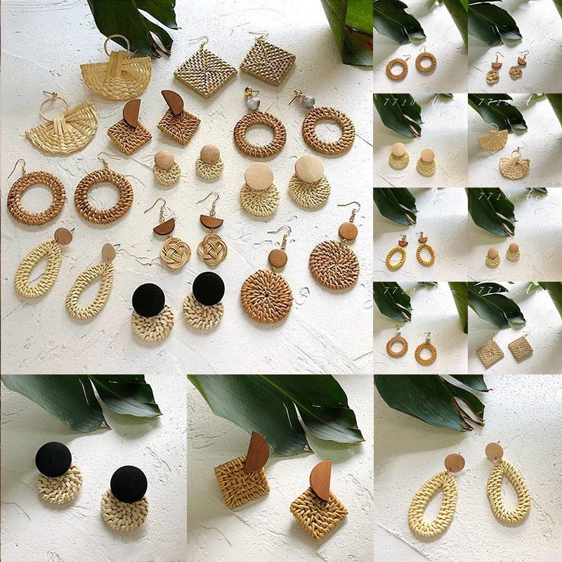 19 New Korea Handmade Wooden Straw Woven Rattan Vine Braid Geometric Large Circle Square Long Drop Earrings For Women Girl 1