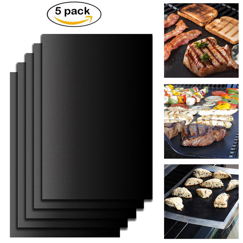 5 Pcs Non Stick Surface Heat Resistant BBQ Grill Mats Durable Barbecue Baking Mats Grill Pad
