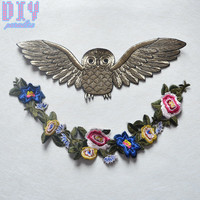 Colorful Owl flower Embroidered Sew On Patches Applique Badge Bag Clothing Fabric Sewing Crafts DIY