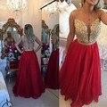 Sexy Opacidad Volver Encaje Vestidos de Baile Largo 2017 Rojo de Organza Apliques de Cristal Elegante Formal Vestidos de Noche Robe De Soirée