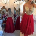 Sexy See Through Back Lace Prom Dresses Long 2017 Red Organza Appliques Crystal Elegant Formal Evening Gowns Robe De Soiree