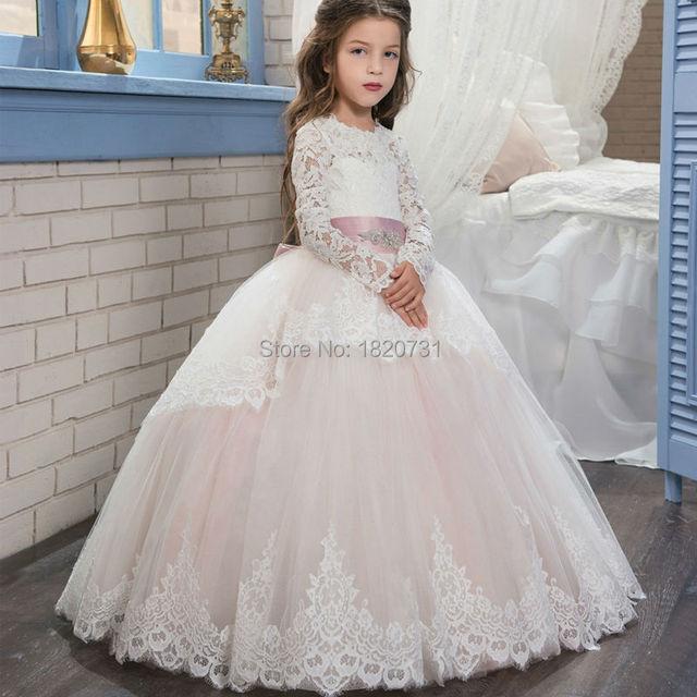 0c4b441d3 Scoop Lace Long Sleeve Little Flower Girl Dresses 2019 Long Train Light  Pink Tulle Puffy Ball