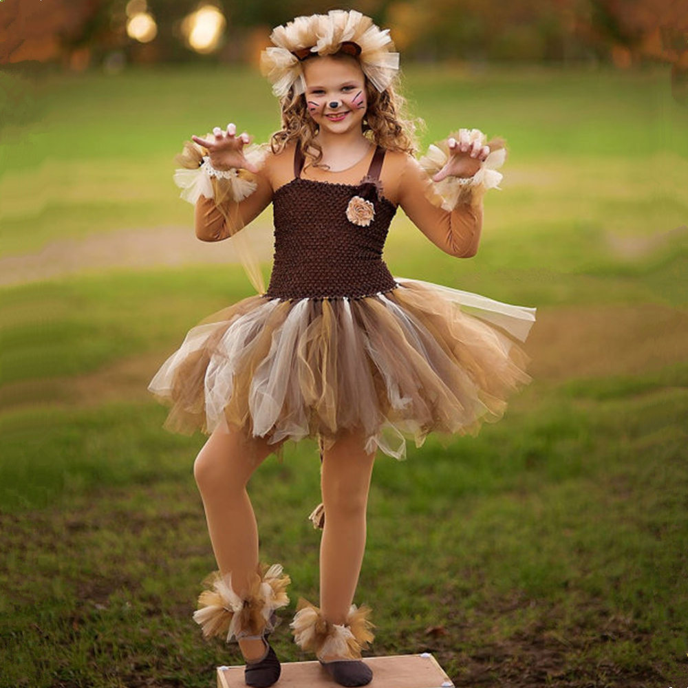 Brown Flower Girls Tutu Dress Children Cosplay Animal Lion Costume Dress Up Fancy Girl Kids Halloween Birthday Party Dress 1-14Y children girl tutu dress super hero girl halloween costume kids summer tutu dress party photography girl clothing