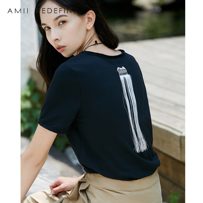 AMII REDEFINE Women T-shirt Summer 2018 Causal Befree O-neck Short Sleeve Tassel Female Top Tees
