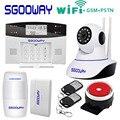 Sgooway Фабрика беспроводной WIFI GSM PSTN сигнализация SMS Охранная сигнализация с ip-камерой Поддержка ios и android APP