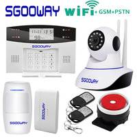 Sgooway Factory wireless WIFI GSM PSTN alarm system SMS burglar security alarm with ip camera support ios∧roid APP
