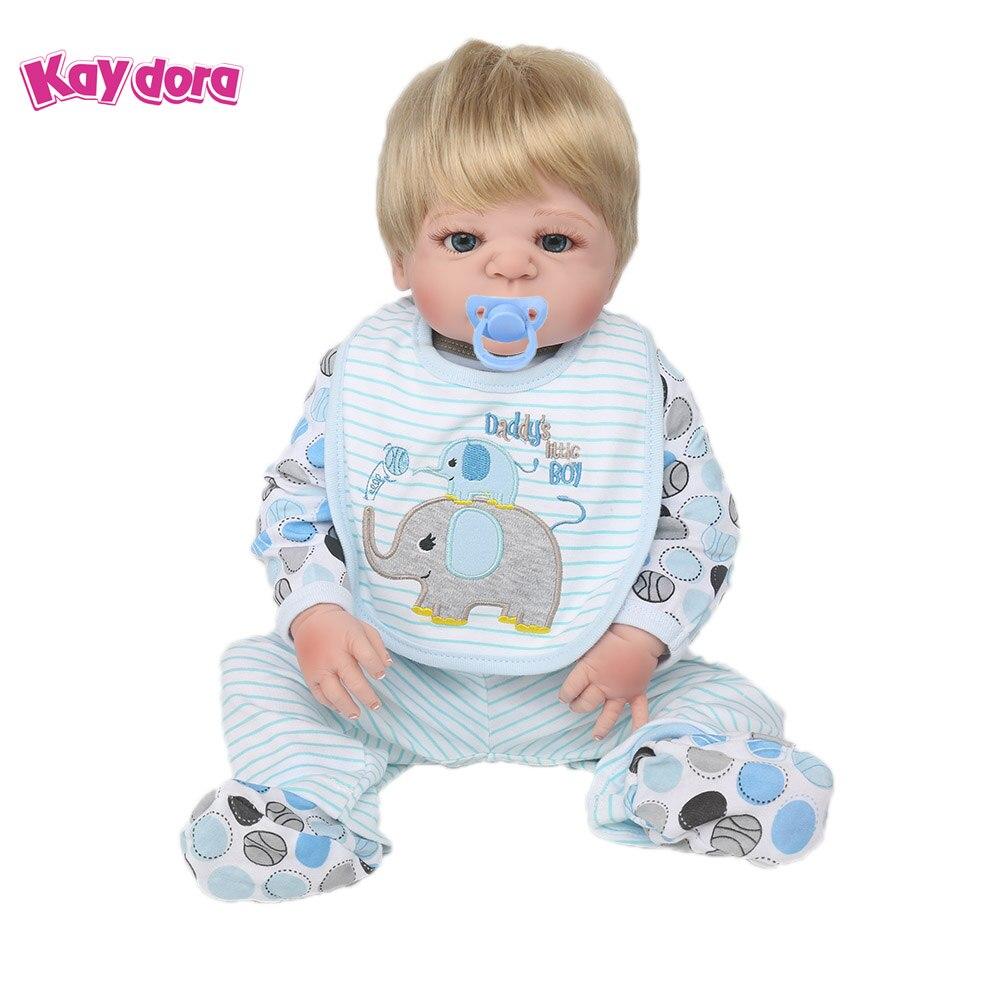 KAYDORA 22 inch 55cm Full Silicone Reborn Baby Dolls Vinyl Alive Lifelike Real Dolls Blonde Wig Realistic Reborn Babies Boy Toys