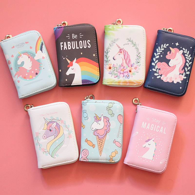 Rainbow Horse Mid-long Multi-clip Zipper Wallet Lovely Korean Unicorn Schoolgirl Hand-held Zero Wallet Girl Purse