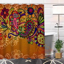 Indian Pattern New arrival Custom 100% Polyester Fabric High Defintion Printing Shower Curtain Bathroom Waterproof With Hook(China)