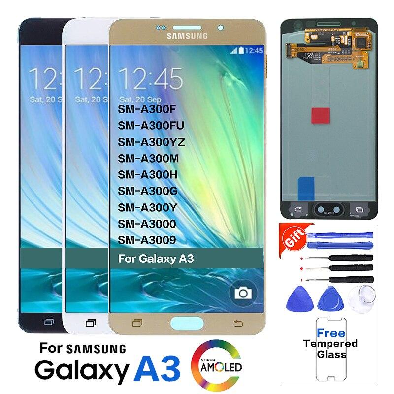 Super AMOLED LCD für SAMSUNG Galaxy A3 2015 Display A300 A300H A300F A300FU Touchscreen Digitizer kleine brennen schatten