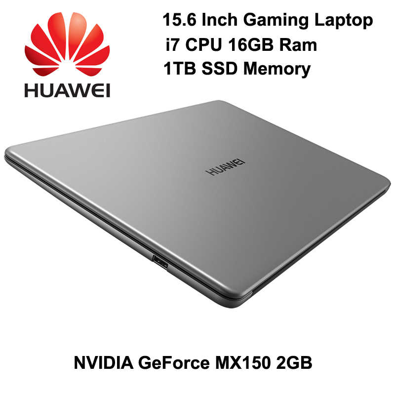 Kwaliteit Laptop HUAWEI MateBook D 15.6 Inch Met 8th Gen Intel i7 CPU NVIDIA 2GB GPU 8GB Ram 128GB SSD + 1TB HDD FHD Matte Display