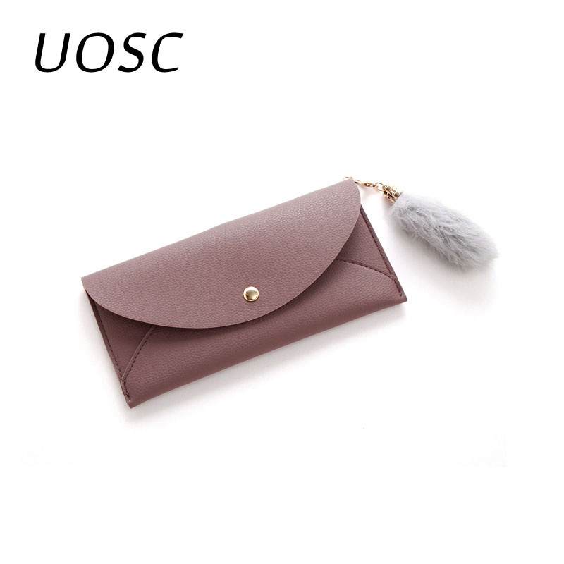 UOSC High Quality Leather Women Casual Long Wallets Black/Dark Green/Pink/Purple Solid Standard Long Card Holder Purses Ladies