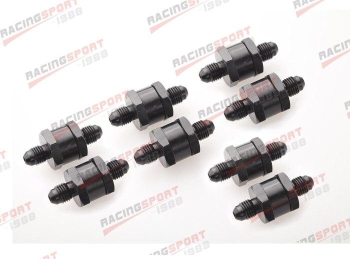 ФОТО 8pcs 6AN Fuel Non Return One Way Check Valve Petrol Diesel Aluminium Alloy OWV-07-BLACK-8