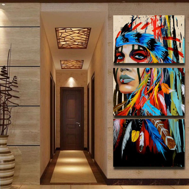 Native American Indian Feather Woman 3 Panel Canvas Wall Art Prints Large  Wall Pictures Wholesale Drop