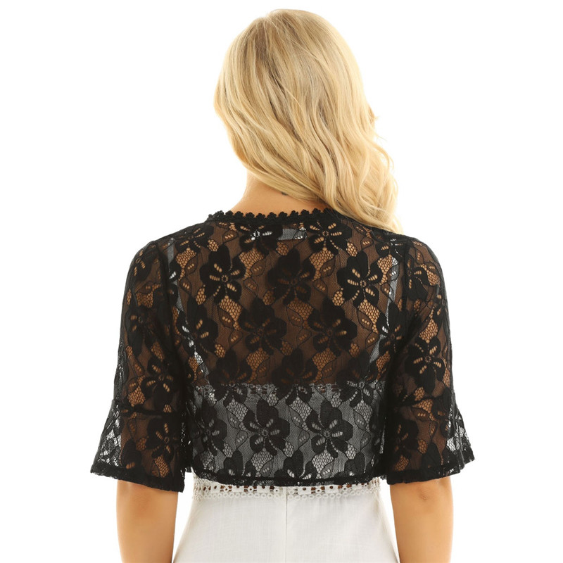Floral Lace Wrap Half Bell Sleeve Black White Bridal Wraps Jacket Bolero 4