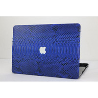 Blue python skin laptop case for Macbook Air Retina 12 15 2018 new 13 cover with snake leather coated free customized letters