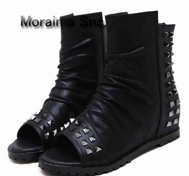 Moraima Snc 2018 black women shoes peep toe wedges boots women rivet height increasing ankle boots summer gladiator short boots moraima snc brand sneakers female summer black pink sexy cut out zapatillas mujer casual metal round toe height increasing shoes