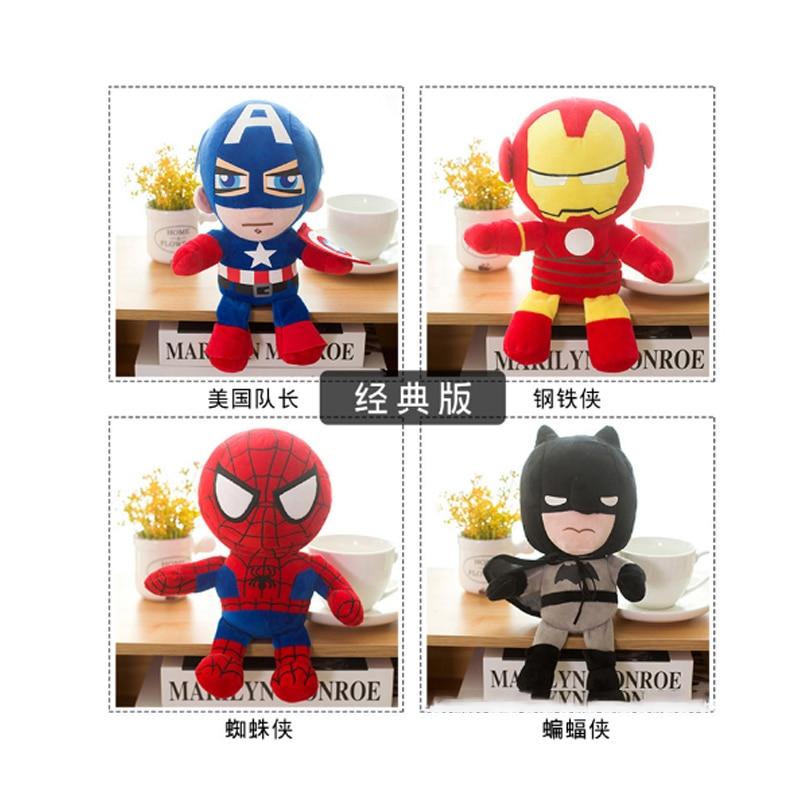 Marvel Мстители 4 плюшевые игрушки супергерой плюшевые куклы Капитан Америка, Железный человек Человек-паук Тор плюшевые мягкие игрушки Человек-паук