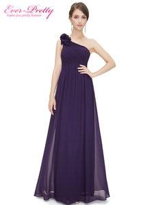 Image 3 - ארוך שושבינה שמלות אי פעם די EP08237 נשים של אחת כתף פרחוני מרופד vestidos שיפון שמלות למסיבת חתונה