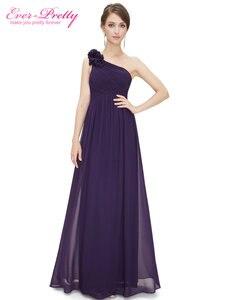 Image 3 - Длинные платья подружки невесты Ever Pretty EP08237, женские шифоновые платья на одно плечо с цветочной подкладкой для свадебной вечеринки