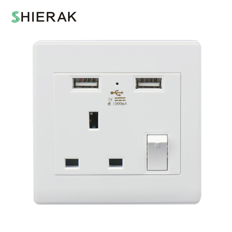 Shierak 5v 1a Uk Wall Socket With Dual Usb Ports White Plastic Panel Grounded Usb Wall Outlet Uk 3 Pin Plugs Home Improvement